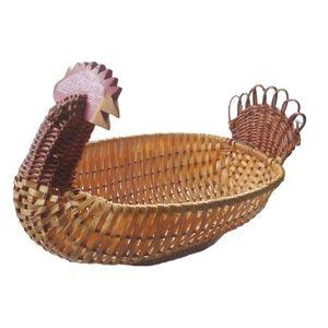 Vintage 70s Wicker/Rattan Rooster Basket/Decor
